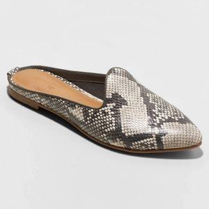 women violet faux leather Snake print spot mules -